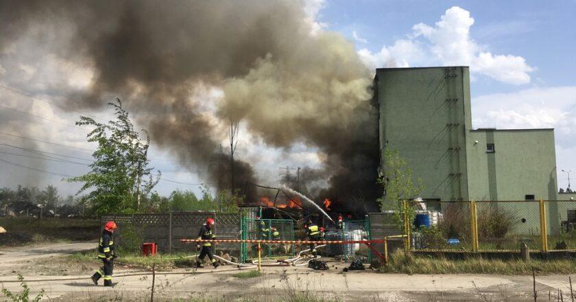 Spłonęły zabudowania po firmie Eko-Szop